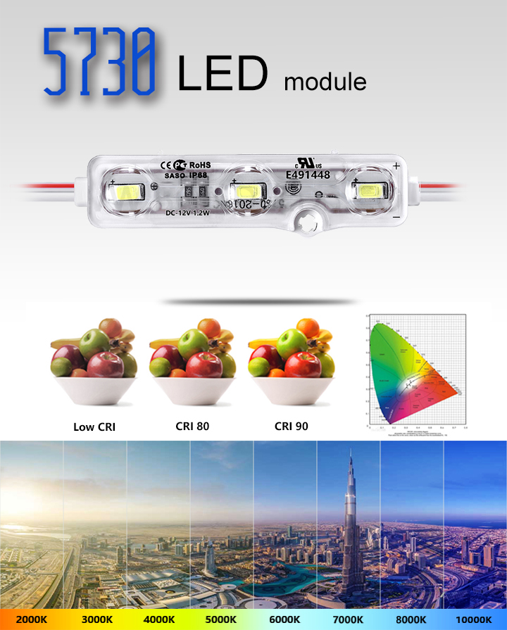 DC12V LED module 3leds SMD 5730 LED module high power  module 1.2W