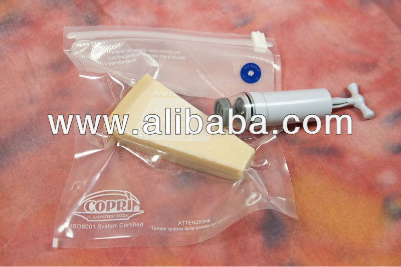 "Copri' "" il Salvafreschezza "" 6 pz. + pompetta, reusable vacuum food bags kit with pump"