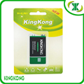 KingKong 9V 6F22 high capacity carbon zinc battery with best price