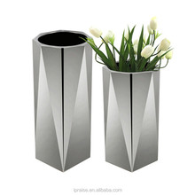 Decorative silver metal stainless steel flower planter pots for hall decoration