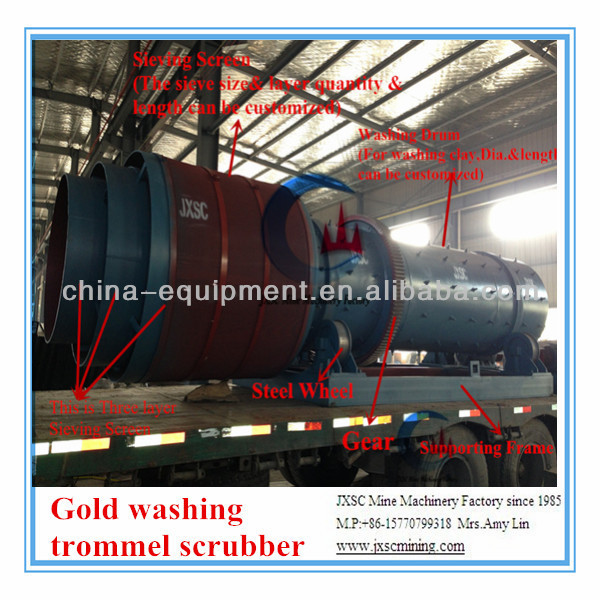 100-150T/H trommel scrubber machine, gold refining equipment, gold wash plant