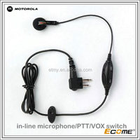 2015 hot Commercial series earbud with in-line microphone/PTT/VOX switch for motorola GP3688/3188/GP2000/2000S two way radio