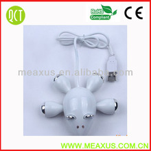 High Quality Creative Mouse Shaped High Speed 4 Ports USB 2.0 Hub Line Extender Adapter for Pc Laptop Notebook