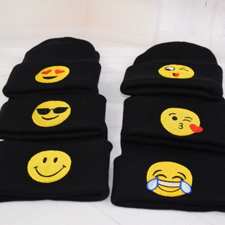 Fashion Cartoon Black Emoji Embroidery Winter Lovers Cap