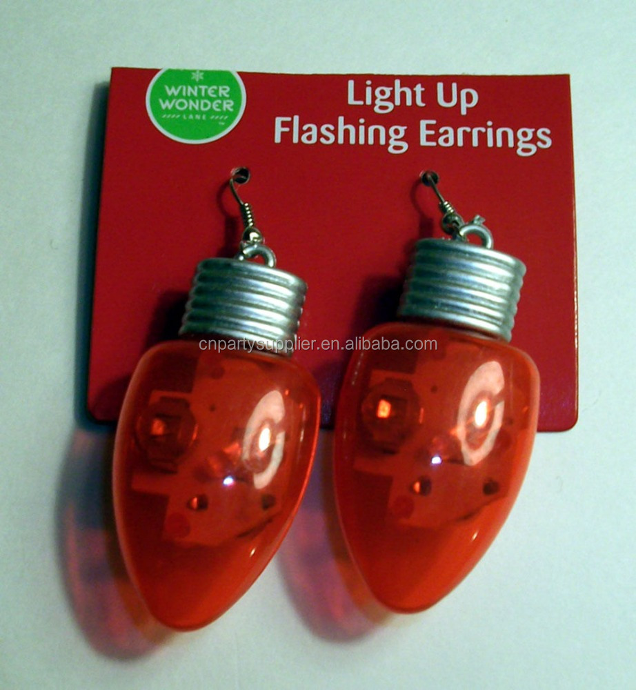 Colourful Christmas Mini Light Bulb Bulbs Earrings