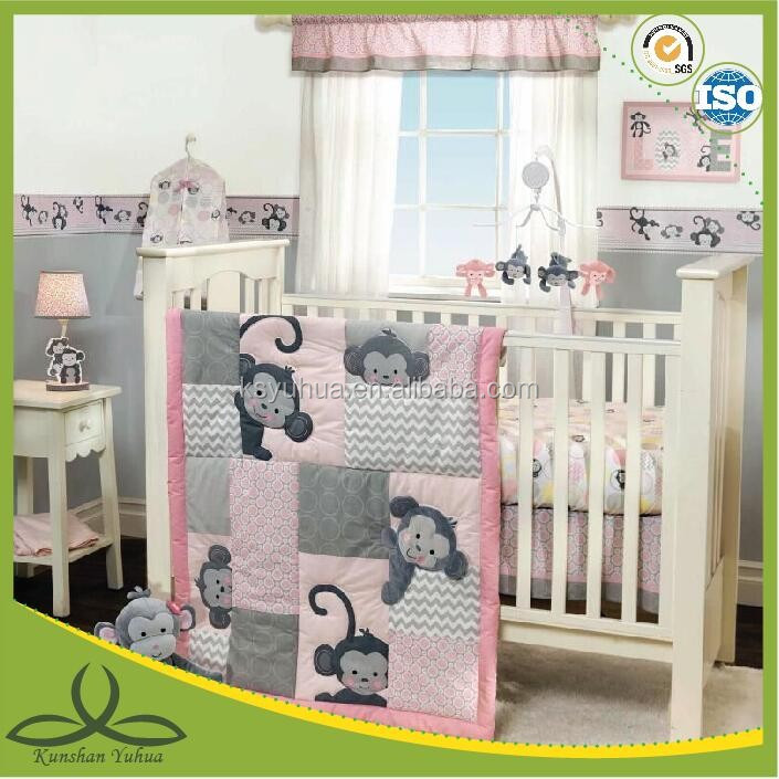 Pink Baby Girls Nursery Jungle Monkeys Patchwork 3 pcs Crib Bedding Set