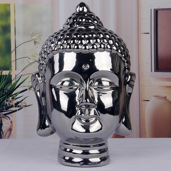india style cheap buddha head porcelain silver laughing buddha statue for sale