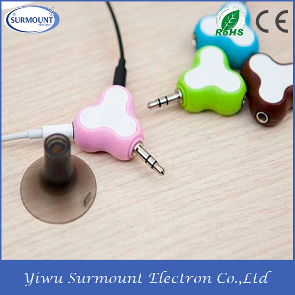 stereo earphone spliter with holder headphone audio earphone spliter