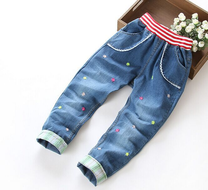5Pcs/lot Girl Fashion Slim Embroidery Floral Demin Long Pants 2015 Autumn Hot Sale Girl Elastic Wasit Turned Finish Jean Pant