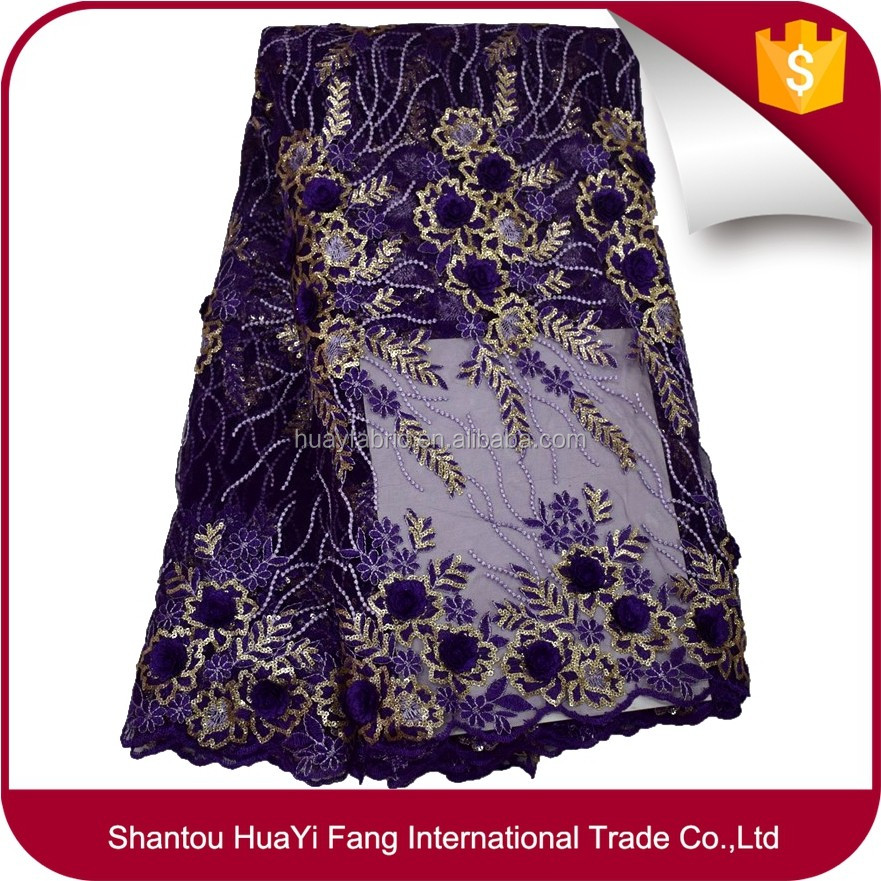 Fashion pearls purple lace african lace fabrics sequins fabric materials for wedding dress HY0395