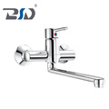 Brass long gooseneck swivel spout out single lever hot and cold water kitchen faucet sink mixer taps