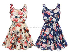 Beige Floral Print Vest Skater Dress/ladies party dress/ flower girl dresses