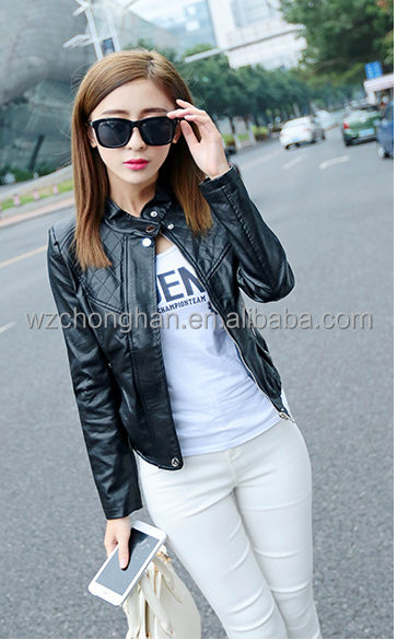 Latest Arrival short motorcycle women leather jackets with good offer