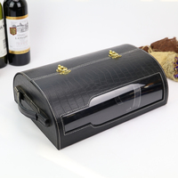 luxury PU leather wine box wine case with accessories display wine box black packaging case box factory directly sell