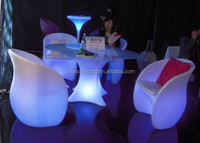 Plastic fashional LED Bar Chair & Table , Customized New moulds , LLDPE material furniturer