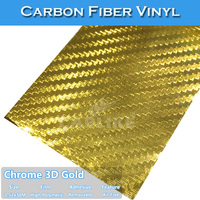 Gold Chrome 3D Carbon Fiber Car Wrap Folie