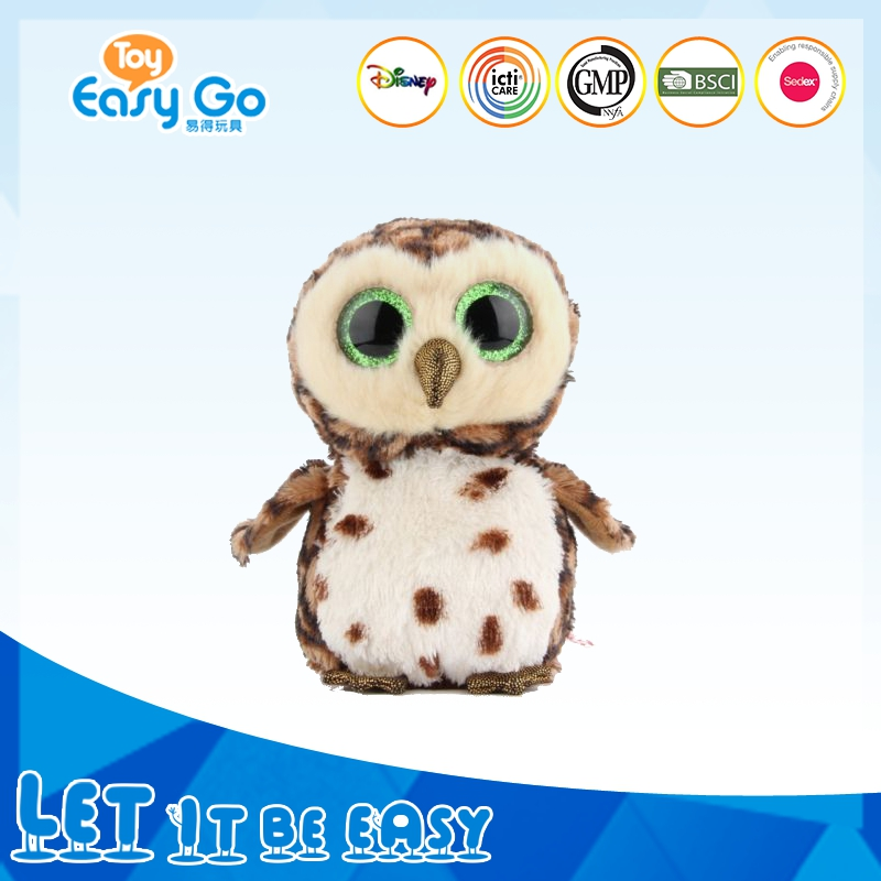 cute soft plastic big eyes white standing soft owl toy bird toy