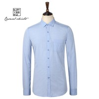 Hot Sale OEM Men Solid Color Cotton Lapel Collor Shirt, Slim Long Sleeve Casual Shirt for Men, Latest Design Fashion Men Shirt