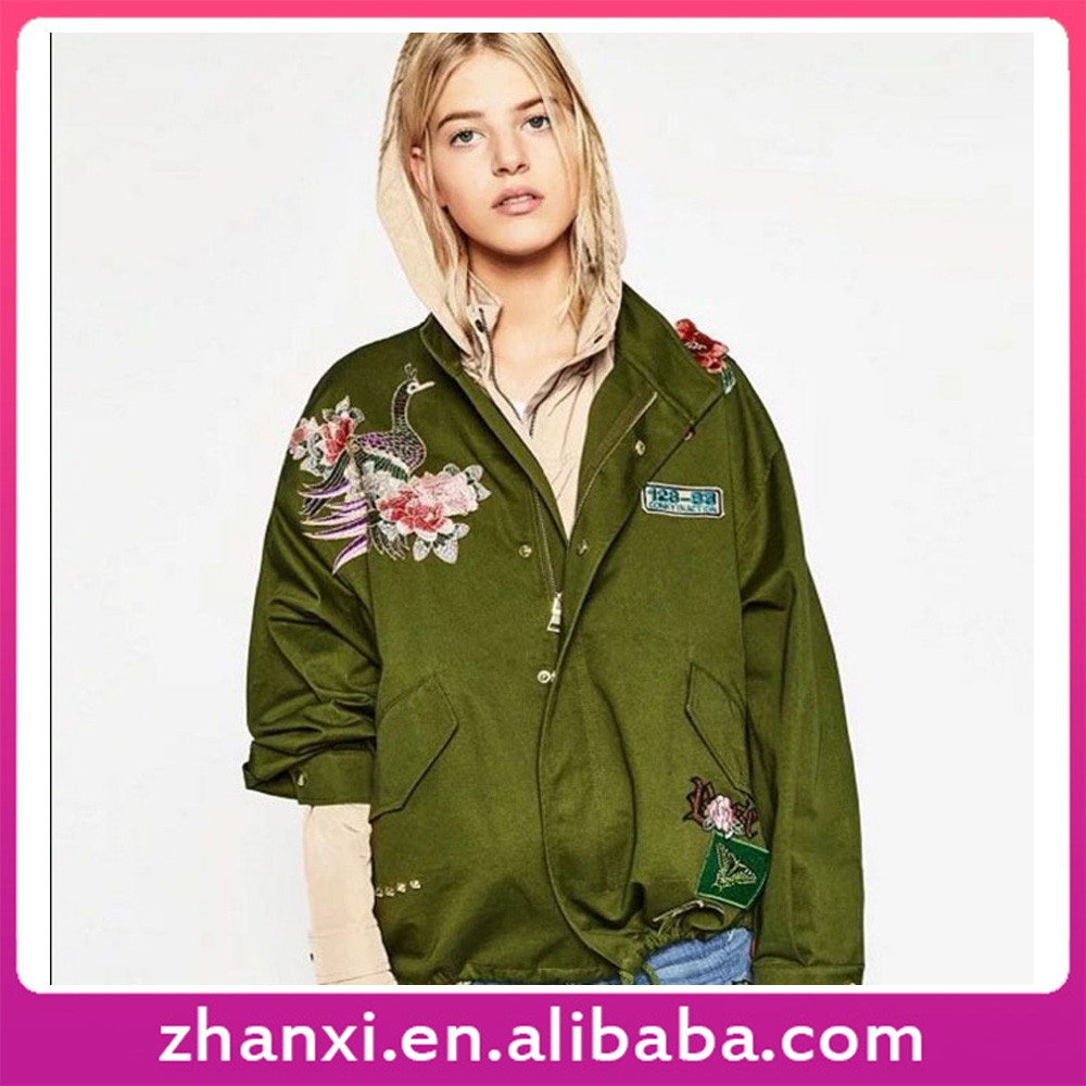 Wholesale winter coat embroidered jacket female flowers windbreaker