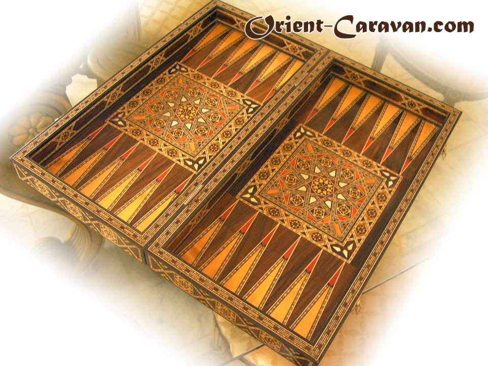 Traditional Large Mosaic Backgammon Board, handcrafted and made in Damascus