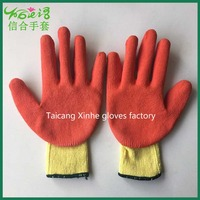 Orange rubber coated high quality cotton glove