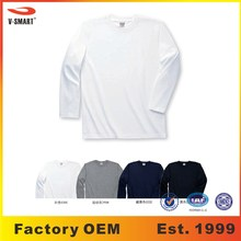 AT026 Mens Long Sleeve Tall Combed Cotton White T shirts Manufacturers Wholesale in Stock + Custom Design