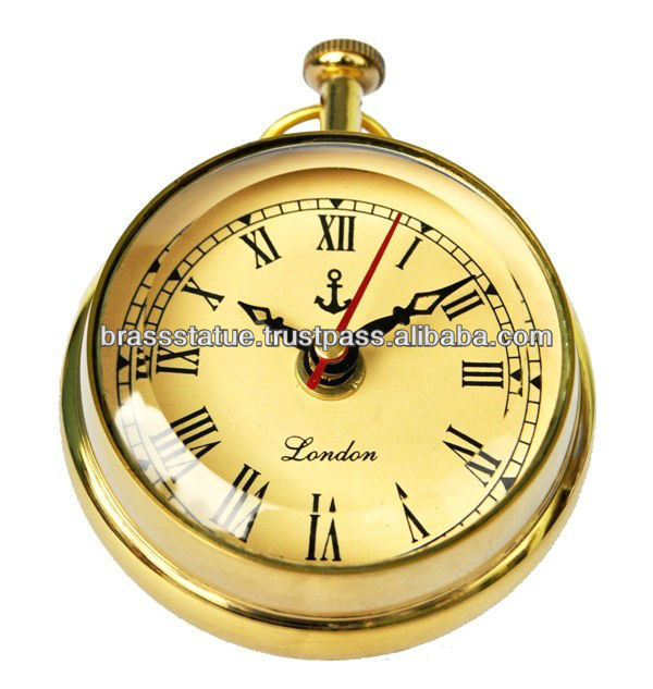 Table clock paper weight alarm clock round golden antique finish