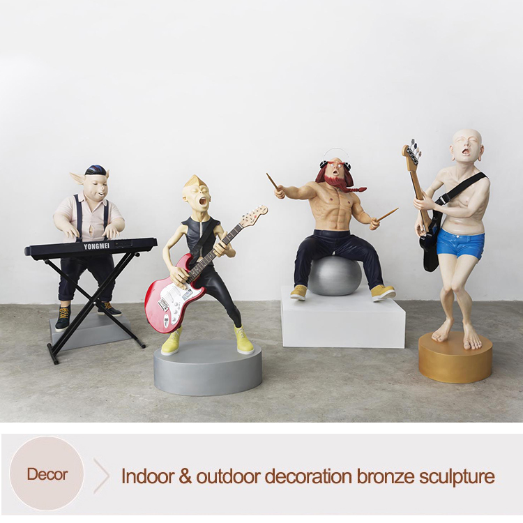 Modern colored casting cartoon character sculpture bronze musician sculptures for home decor