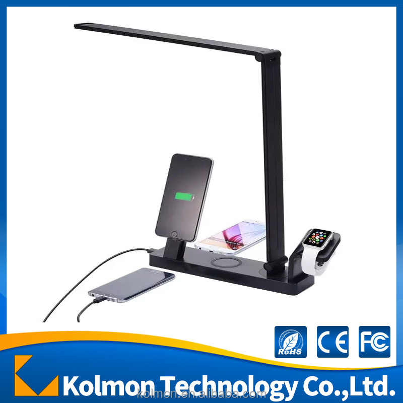 High quality 3 Port Usb qi wireless charger with table lamp