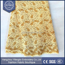 2016 Wholesale gold color india water soluble fabric embroidery african cord laces guipure fabric lace for wedding
