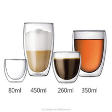 Wholesale Clear Double Wall Glass Coffee Tea Cup