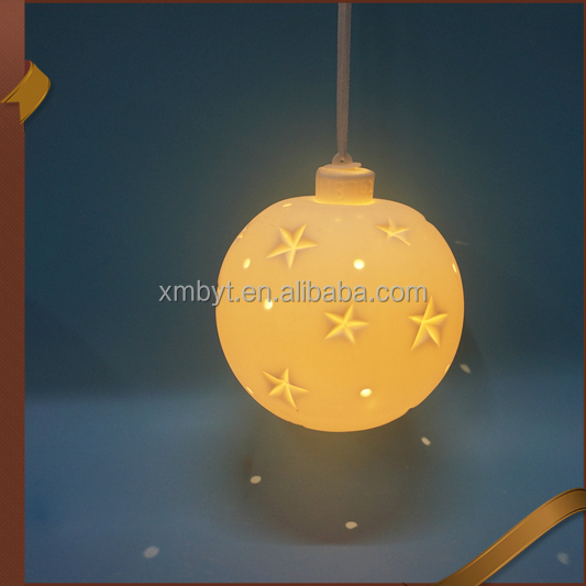 Factory cheap price ceramic <strong>Christmas</strong> hanging balls decoration with LED lights