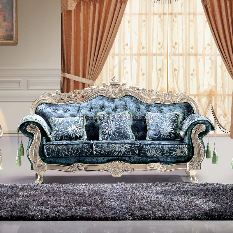 Cheap Carved Indian Sofa Set Baroque Furniture from Home Furniture Manufacturer Foshan