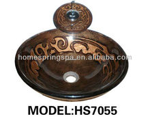 2013 artistry and hand painted bathroom tempered glass vessel sink wash basin