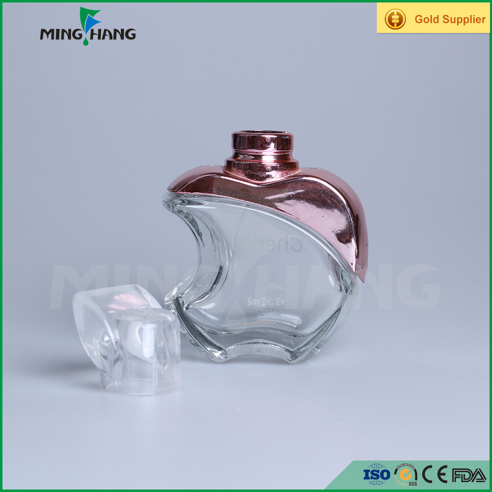 50ml apple shaped perfume glass bottle with plastic cap