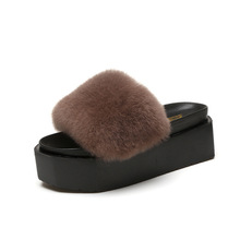 Top selling fashionable women rex rabbit fur slides lady platform slippers