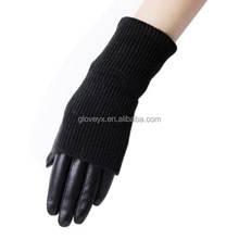 fashion long knitting cuff leather gloves for women