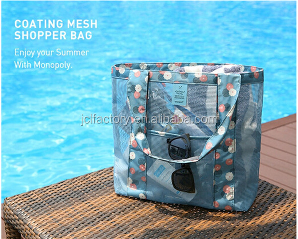 Foldable sand mesh beach bag in bag promotional beach bags