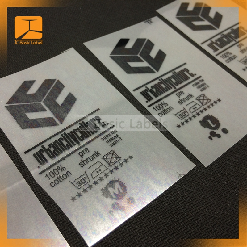 clothing heat transfer care labels or back neck labels, brand logo