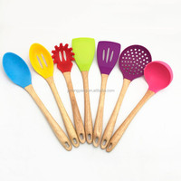 Colorful silicone kitchen tool set with wood handle for cooking utensils