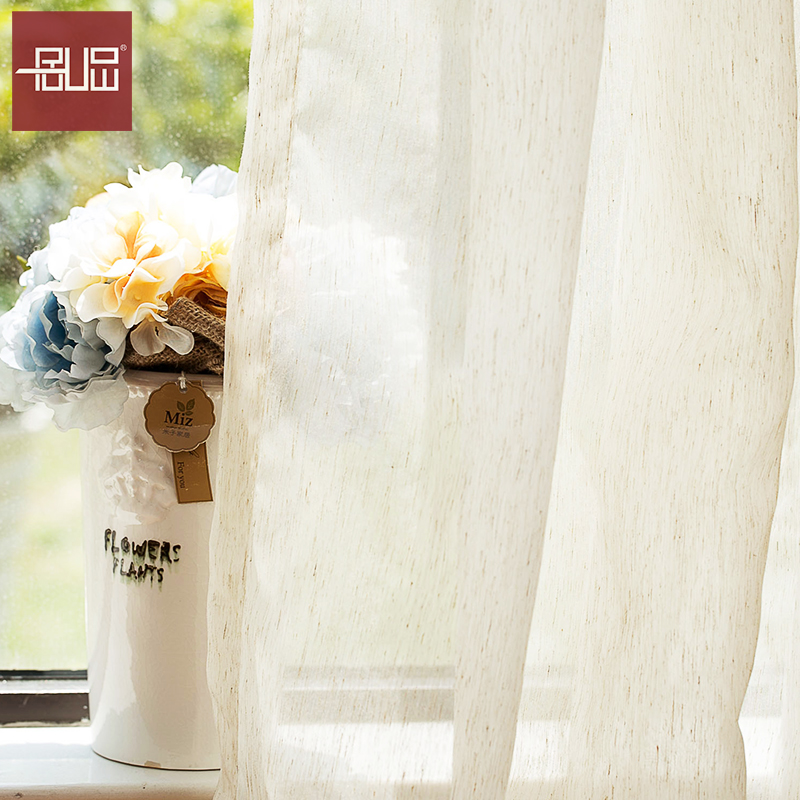 wholesale natural high quality linen voile sheer blackout curtain