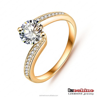 Everlasting High Imitation Diomand Ring Real 18K Gold Plated Slim Wedding Ring CRI0023-C