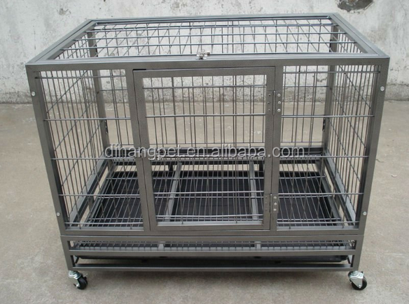 Heavy Duty Square Tube XXL Dog Cage with four wheels For Sale