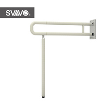 Wall Mounted U Shape Folding Handicap Toilet Grab Bar With Support Leg
