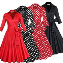 Walson Retro 50s prom dress cheap Vintage long sleeved Polka dots Swing Jive Dress Rockabilly prom dress 50s