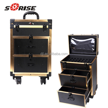 guangzhou supply Multifunction aluminum makeup Trolley Train Case box with drawer
