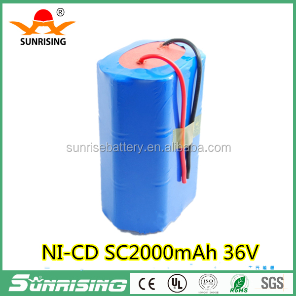 high power NI-CD SC2000mAh battery pack/36VSub C battery pack for power tools drill replacement battery