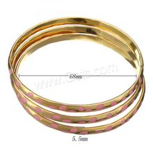 indian gold plated bangles Stainless Steel Donut gold color for woman & enamel 5.5mm Inner Diameter:Approx 68mm 3PCs/Set 1220590