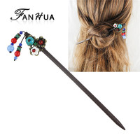 Bohemian Style Colorful Beads Long Wooden Hair Sticks