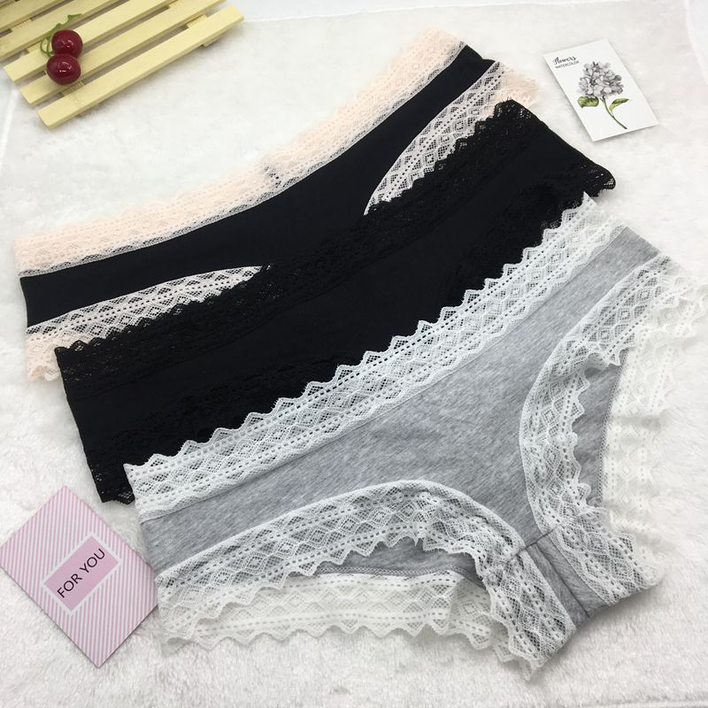 Wholesale Woman Basice Panties Lace Sexy Briefs Cotton Body-shape Underwear